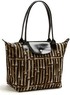 #sale Longchamp Bamboo Le Pliage Black Brown Bag Leather Handbag Purse Logo NEW