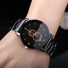 Women Watches Fashion Black Round Dial Stainless Steel Band Quartz Wrist Watch Mens