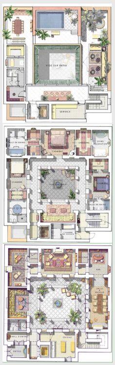 """""""riad"""" """"floor plan"""" home interior garden Sims 4 House Plans, House Layout Plans, Small House Plans, House Layouts, House Floor Plans, Sims Building, Building A House, Sims 4 House Design, Courtyard House Plans"""