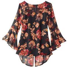Chiffon Bell-Sleeve Blouse | AVON ($30) ❤ liked on Polyvore featuring tops, blouses, chiffon blouses, chiffon tops, bell sleeve blouses, avon and bell sleeve tops