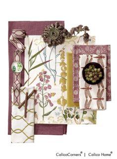 Botanical Gardens Fabric Collection    Slubby Linen in Mulberry. Fern in Spring. Como in Avocado. Hide-N-Seek in Thistle. Skimmer in Lavender. Fellini in Pear.