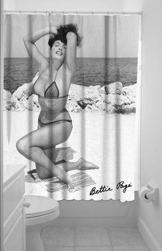 Sourpuss Bettie Page Vintage 50s Rockabilly Pinup Shower Curtain
