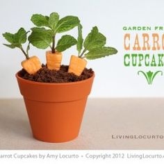 Carrot Cupcakes in Flower Pots