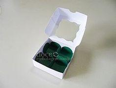 Caixa 04 Trufas c/ visor - doce embalagem