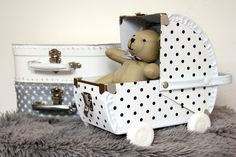 Kazeto baby pram white with dots Baby Prams, Toddler Bed, Kids Rugs, Box, Furniture, Home Decor, Baby Strollers, Homemade Home Decor, Kid Friendly Rugs