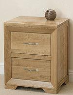 Bevel Natural Solid Oak 2 Drawer Bedside Cabinet