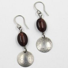 Red Tiger Eye and Textured silver earrings by Riin Gill Design