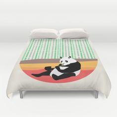 Cover yourself in creativity with our ultra soft microfiber duvet covers.panda, animal, noodles, food, comic, fun, child, children, kids, digital, illustration, forest, colors, orange, black and white, cute, beautiful, art print, wall art, home decor, decoration, pandas, china, Chinese, nature, natural, bamboo, green, eating, eat, pasta