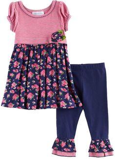 Bonnie Jean Baby Girl Stripe & Floral Tunic & Leggings Set
