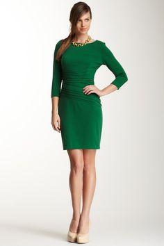 3/4 Sleeve Pleated Dress