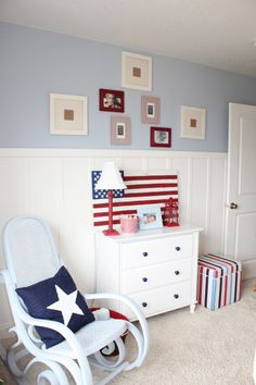Stars and Stripes, Red, white, blue, stars and stripes make up my little guys room. He loves his room , i painted the rocking chair, hand p...