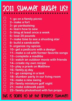 The Rollins Family: 2011 Summer Bucket List
