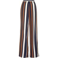 TOPSHOP TALL Stripe Wide Leg Trousers ($59) ❤ liked on Polyvore featuring pants, topshop, navy blue, lined pants, wide leg trousers, navy pants, tailored pants and stripe pants