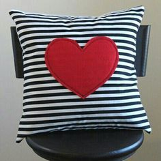red heart pillow cover // black and white stripe pillow // heart shaped pillow // black striped pillow cover // 12 inch cushion cover Cute Pillows, Diy Pillows, Throw Pillows, Heart Cushion, Heart Pillow, Diy Pillow Covers, Cushion Covers, Handmade Pillows, Decorative Pillows