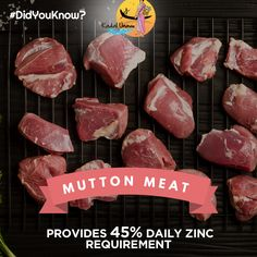 Zinc helps in boosting growth, strengthening immune system and speeding the healing process in human body. #Mutton is rich in zinc, making it a must-have super food! Click here to get healthy and hygienic mutton meat at https://www.kadalunavu.com/product-category/mutton/