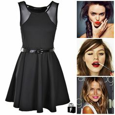 Look de Viernes >> vestido negro con labios de color. Disponible en www.tiendafucsia.co