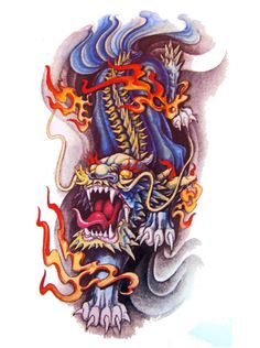 Japanese Lion Tattoo Flash Designs. Top quality high resolution color design, with tattoo stencil outline for instant download. Get the body art you deserve. Many other designs. View at http://mickeymud.com/galleries/
