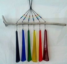 These glass wind chimes with natural beach driftwood make a beautiful tinkling sound. string to bottom of chimes. Beaded strings. Colorful reds, blues, greens, yellows. | eBay!