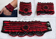 bead crocheted cuff bracelets | crochet cuff bracelet black and red with glass beads