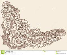 mehndi mandala tattoos | Hand-Drawn Abstract Henna Mandala Mehndi Tattoo Paisley and Henna ...