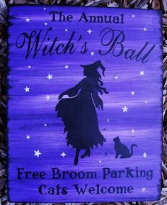 Primitive Witch sign Annual witches ball dance witchcraft halloween Signs decorations wicca wiccan black cats broomstick parking by SleepyHollowPrims, $27.00 USD