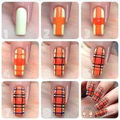 Plaid Nail Art, Plaid Nails, Fall Nail Art, Gel Nagel Design, Cute Nail Art Designs, Nail Art Videos, Trendy Nail Art, Halloween Nail Art, Creative Nails