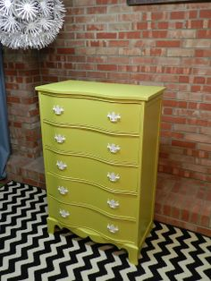 painted dresser chartreuse.  oh lah lah. maybe this color for my bedside table