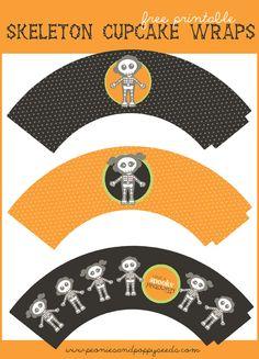 Peonies and Poppyseeds: Free Printable Skeleton Cupcake Wrappers