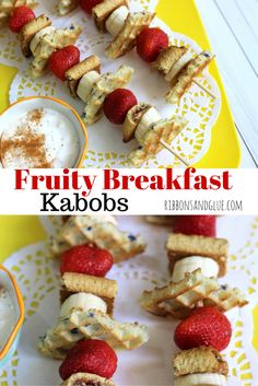 Quick and easy Fruity Breakfast Kabobs made with Eggo Waffles, Nutri-Grain Bars and fruit. Cut everything up mini and stick on a skewer! @target #FueledForSchool #ad
