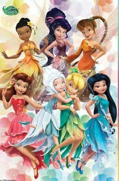 Tinkerbell and friends in new outfits 〖 Disney Fairies Fairy Iridessa Vidia Fawn Rosetta Periwinkle Tinker Bell Silvermist 〗 Tinkerbell And Friends, Tinkerbell Disney, Tinkerbell Fairies, Disney Love, Disney Magic, Disney Art, Princesas Disney Dark, Disney Faries, Friends Poster
