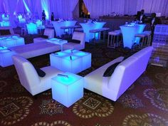 White Eccentric Line with Lighted Acrylic Lounge Cubes