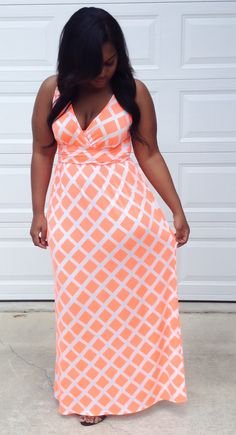 Neon Coral Maxi Dress from Cori Coren