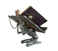 Katherine's Collection Witches Spellbook with Skeleton Holder
