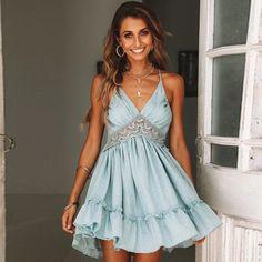 Sexy Boho Lace Trimmed Empire Mini Dress – Maizys Boutique Casual Dresses, Fashion Dresses, Summer Dresses, Maxi Dresses, Ladies Dresses, Beach Dresses, Floral Dresses, Cute Teen Dresses, Party Dresses