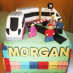 Lego cake fondant - train - happy birthday Morgan!