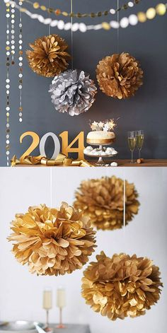 well, of course it's for 2016 New Year's Party. Use gold decorations such paper pom poms & glittered circle banner! Streamer Party Decorations, Birthday Decorations, Wedding Decorations, Gold Decorations, Anniversary Decorations, Graduation Decorations, Diy Centerpieces, Decoration Table, Golden Wedding Anniversary