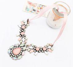Pink-Fashion-Jewelry-Crystal-Chunky-Statement-Bib-Pendant-Chain-Choker-Necklace