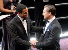 Best actor nominees Chiwetel Ejiofor and Leonardo DiCaprio shook each other's hands ahead of the show - Oscars 2014