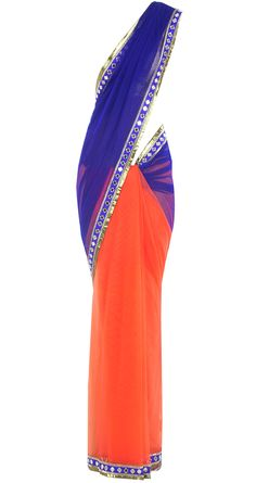 Indigo and orange sari with a mirror work border available only at Pernia's Pop-Up Shop. With a silver top, cause the karai is silver Indian Dress Up, Indian Attire, Indian Ethnic Wear, Indian Outfits, Desi Wedding Dresses, Desi Clothes, Indian Clothes, Modern Saree, Indian Sarees