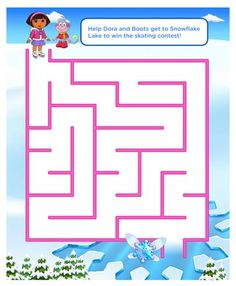 Can you help Dora and Boots get through this maze so that they can reach Snowflake Lake?