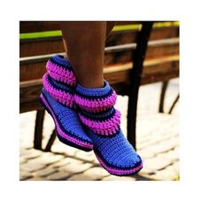 Crochet Boots Lilac Purple Stripes for the Home Slippers Women Boots