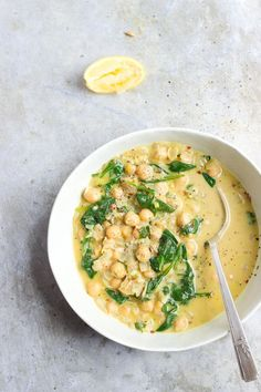 coconut curry chickpeas with wilted greens | @withfoodandlove.