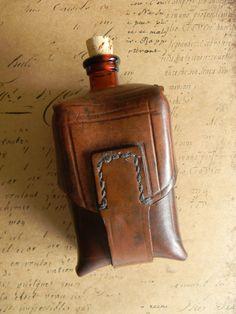Custom Steampunk Flask Belt Pouch Vintage by CuriosityShopper