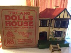 Pre-war Tri-ang Dolls House Size 60 boxed (Fitted with Electric Light) in Dolls & Bears, Dolls' Miniatures & Houses, Vintage Items Old Dolls, Antique Dolls, Vintage Dolls, Dolls House Shop, Miniature Houses, Electric Light, Dollhouse Miniatures, War, Dollhouses