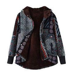 3b3a2affaa Laisla fashion Damen Winter Jacket Hoher Baumwollanteil Streifenmuster  Winterparka Classic Warm Outwear Print Mit Kapuze Taschen