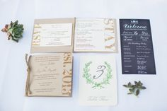 Ranch Wedding Booklet Invite with dinner menu and table number