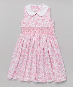 Look what I found on #zulily! Pink Floral Collar A-Line Dress - Toddler & Girls #zulilyfinds