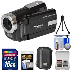 Kit includes:♦ 1) Vivitar DVR-508 HD Digital Video Camera Camcorder (Black)♦ 2) Transcend 16GB SecureDigital (SDHC) 300x UHS-I Class 10 Memory Card♦ 3) Vidpro ACT-15 Accent Hard Shell Digital Ca...