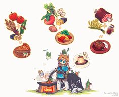 Legend of Zelda Breath of the Wild art > Link cooking > food , recipes The Legend Of Zelda, Legend Of Zelda Breath, What A Nice Day, Botw Zelda, Chibi Food, Pokemon, Link Art, Doodle Icon, Food Drawing