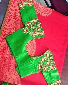 Elegant Designer Fancy Sari Blouse Designs - The Handmade Crafts Pattu Saree Blouse Designs, Simple Blouse Designs, Fancy Blouse Designs, Wedding Saree Blouse Designs, Blouse Neck Designs, Maggam Work Designs, Designer Blouse Patterns, Work Blouse, Maggam Works